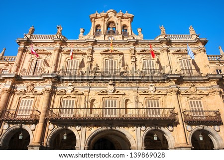 Town hall at Plaza Mayor in Salamanca, Castilla y Leon, Spain - stock photo