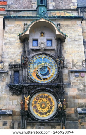 Town Hall building and Astronomical Clock in Prague Old Town, Czech Republic - stock photo