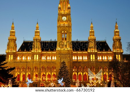 Town Hall in Vienna at christmas time - stock photo