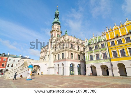 Town Hall, Main Square (Rynek Wielki), Zamosc, Poland - stock photo