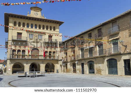 town hall olite village in navarra spain