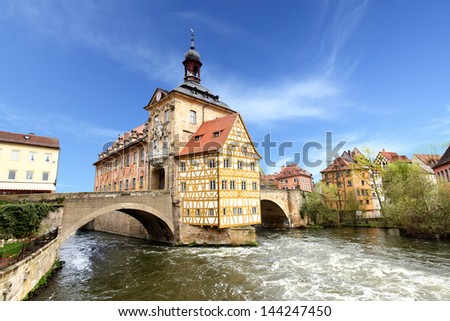 Town hall on the bridge, Bamberg, Germany - stock photo