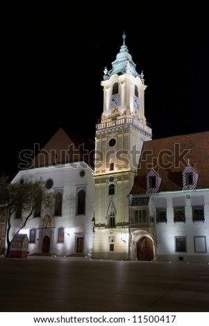 town hall on the main square during night, Bratislava Slovakia