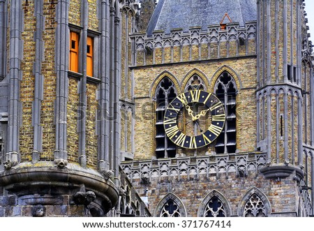 Town hall situated in the center of belgian city Ieper - Ypres - stock photo