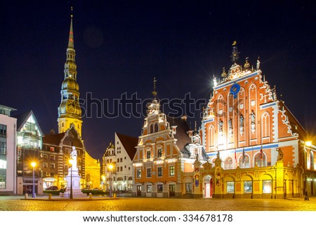 Town Hall Square and the House of the Blackheads in Riga's historic center. - stock photo