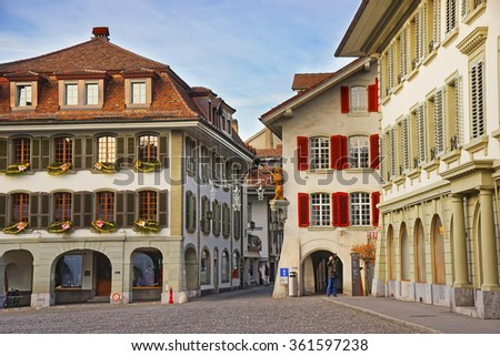 Town Hall Square in Old City of Thun at Christmas. Thun is a city in the canton of Bern in Switzerland, where the Aare river flows out of Lake Thun. The Town Hall Square is the historic center of Thun