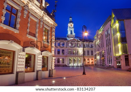 Town hall square in Riga, Latvia. - stock photo