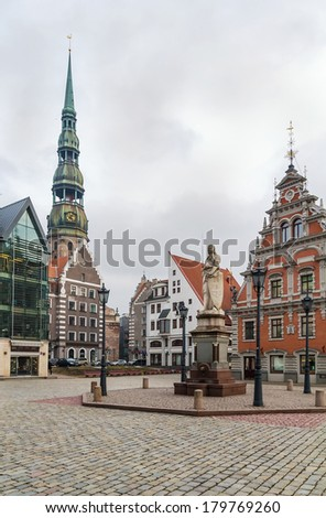 Town Hall Square in Riga with Roland statue, Latvia - stock photo