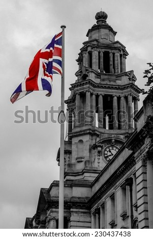 Town Hall with Flag - stock photo