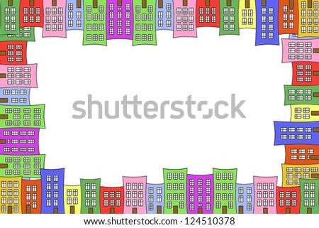 town houses - frame - stock photo