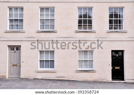 Town Houses on a Typical English Residential Street - stock photo