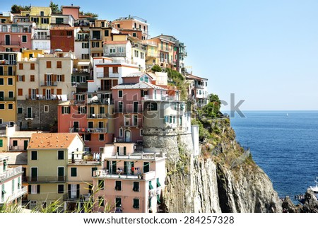 town in cinque terre  - stock photo