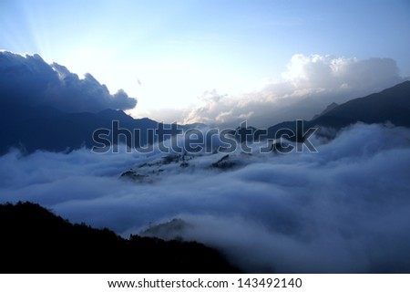 town in clouds