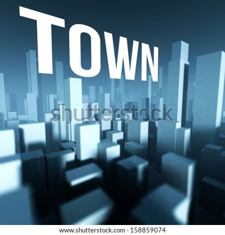 Town in 3d model of miniature city downtown, Architectural creative concept