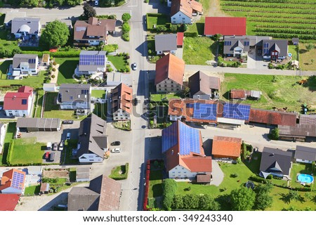 Town in Germany, aerial photography. There are a lot of solar panels on the roofs - stock photo
