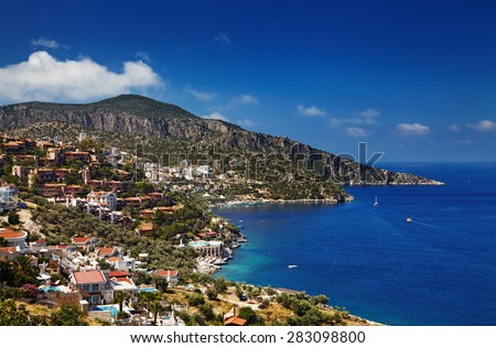 Town Kalkan, Mediterranean Coast, Turkey - stock photo