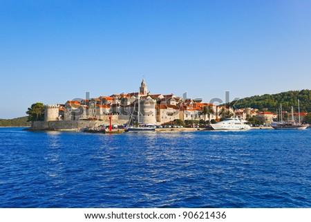 Town Korcula at Croatia - architecture background - stock photo