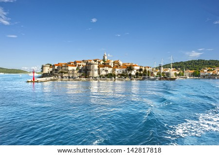 Town Korcula at Croatia - island - stock photo