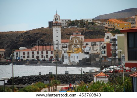 Town landscape next to the ocean, Canary islands, Spain - stock photo