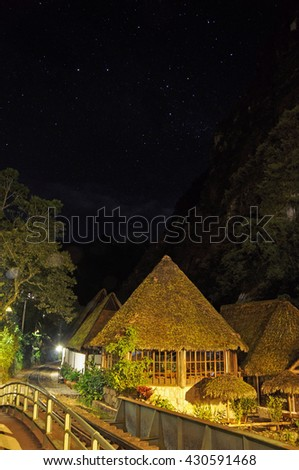 Town of Aguas Calientes, Peru, at night