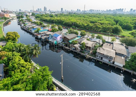 Town of Bangkok beside River in Thailand - stock photo