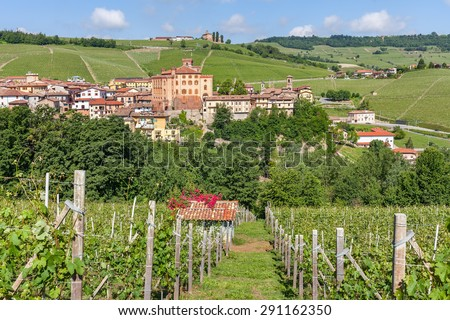 Town of Barolo, green hills and vineyards in Piedmont, Northern Italy. - stock photo
