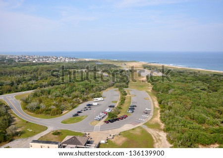 Town of Buxton in Cape Hatteras, from Cape Hatteras Lighthouse in Cape Hatteras National Seashore, on Hatteras Island, North Carolina, USA - stock photo