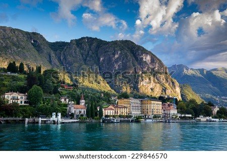 Town of Cadenabbia. Como Lake. Northern Italy. European travel, vacation, summer, destination, exploration and lifestyle concept. - stock photo