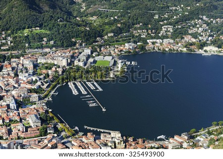 Town of Como ,Italy seen from Brunate village. - stock photo