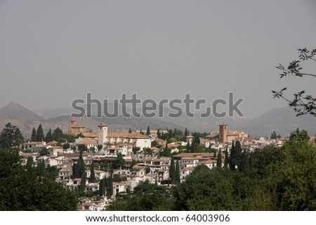 Town of Granada, Spain and the Alhambra