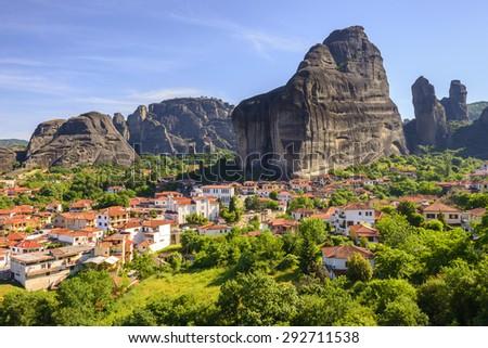 Town of Kastraki, Meteora mountains in Thessaly, Greece - stock photo