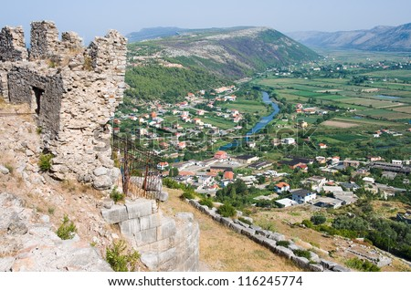 town of Lezhe and Drin River from the castle hill - stock photo