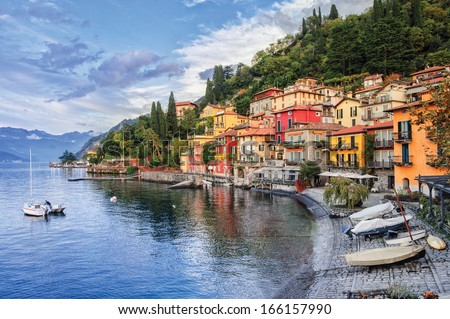 Town of Menaggio on lake Como, Milan, Italy - stock photo