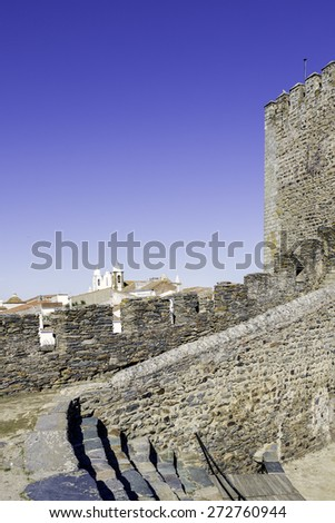 Town of Monsaraz castle inner space (used as a traditional bullfighting arena). Located on the right margin of Guadiana River in Portuguese Alentejo region, near Alqueiva damm and border with Spain. - stock photo