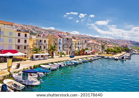 Town of Pag colorful waterfront, Dalmatia, Croatia - stock photo