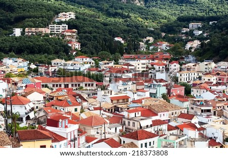 Town of Parga rooftops. - stock photo