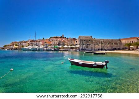 Town of Primosten turquoise waterfront view, Dalmatia, Croatia - stock photo