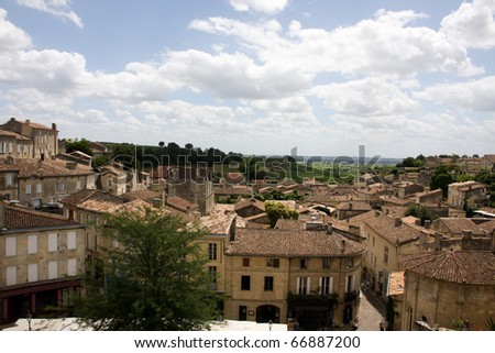 Town of Saint Emilion with Vineyards in background