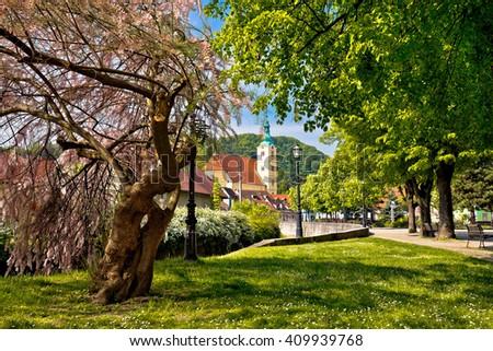 Town of Samobor park and church, northern Croatia - stock photo