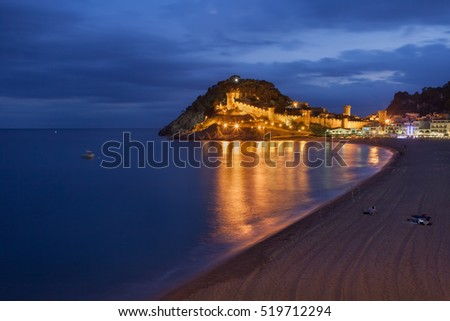 Town of Tossa de Mar at night, Costa Brava, Spain, view from the beach