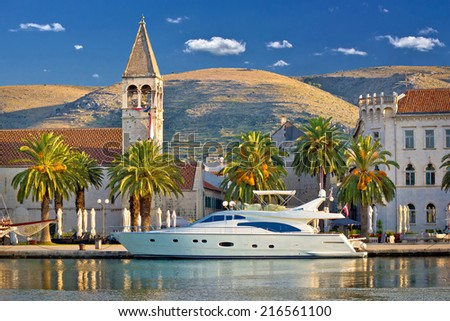 Town of Trogir yachting waterfront, UNESCO world heritage site in Dalmatia, Croatia - stock photo