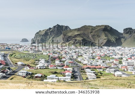 town of vestmannaeyjar on small island, Iceland - stock photo