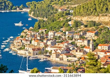 Town of Vis aerial waterfront view, Dalmatia, Croatia - stock photo