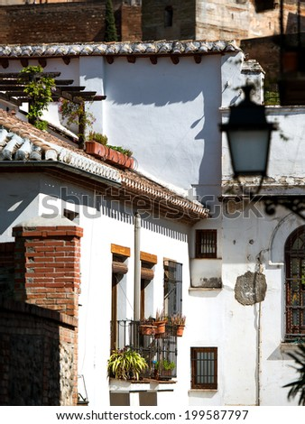 Town of white houses, typical Spanish architecture. Granada