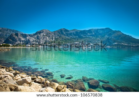 Town Omis in Croatia - abstact travel background - stock photo