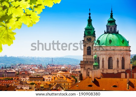 Town panorama and Malostranske namesti - stock photo