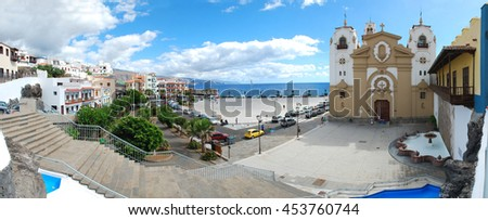 Town square and cathedral, Canary islands, Spain. Stitched Panorama - stock photo
