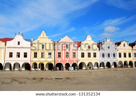 Town square inf Telc with renaissance and baroque colorful houses - stock photo