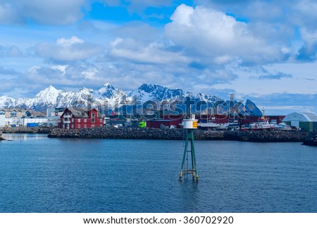 Town Svolvaer on norwegian Lofoten islands in sunny day - stock photo
