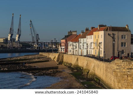 Town Wall, Hartlepool, Durham, Great Britain. Dating from the late 14th century the limestone wall once enclosed the whole of the medieval town. - stock photo